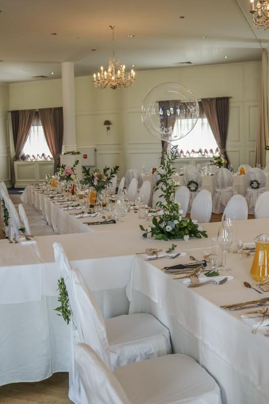 balony sala dekoracje ślubne różowe dekoracje weselne