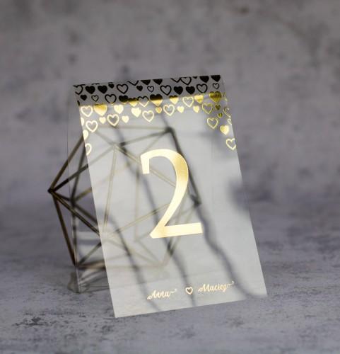 numer stołu złoto serca transparentne