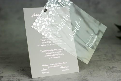 serca srebrne zaproszenie ślubne