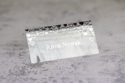 winietka srebro serca transparentne
