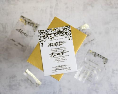 zaproszenie na ślub złote serca