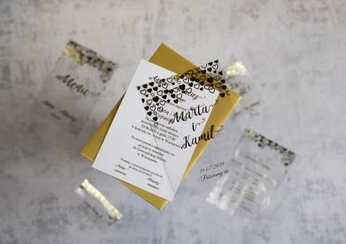 zaproszenie ślubne serca złoto