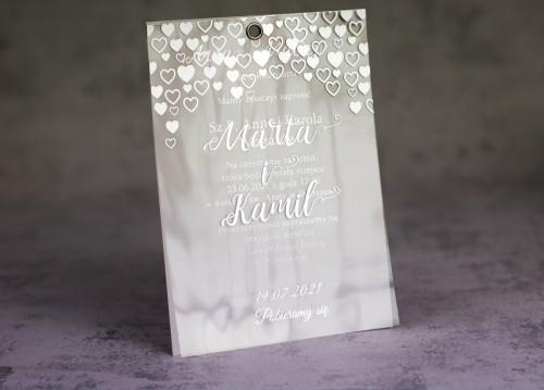 zaproszenie ślubne srebrne serca transparentne