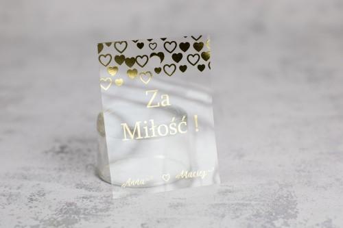 zawieszka wódka weselna złoto serce transparentna