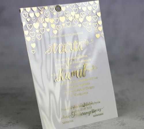 złote serca  zaproszenie ślubne transparentne