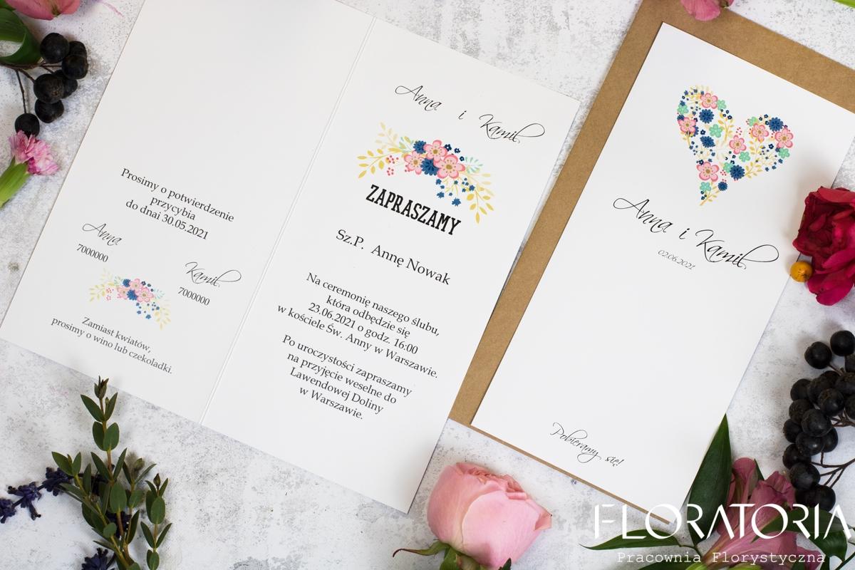 Serce Kwiaty Zaproszenie ślubne Floratoria Dekoracje ślubne