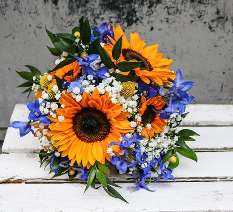 bukiet ślubny rustykalny  warszawa słoneczniki