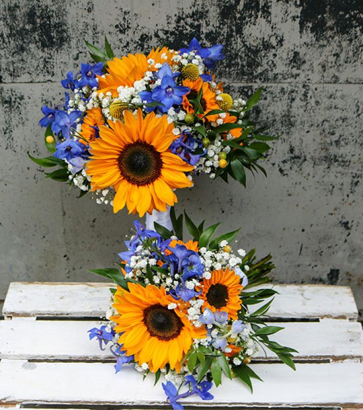bukiet ślubny warszawa słoneczniki ostróżka