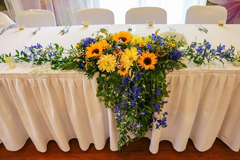 dekoracja stołu pary młodej warszawa słoneczniki