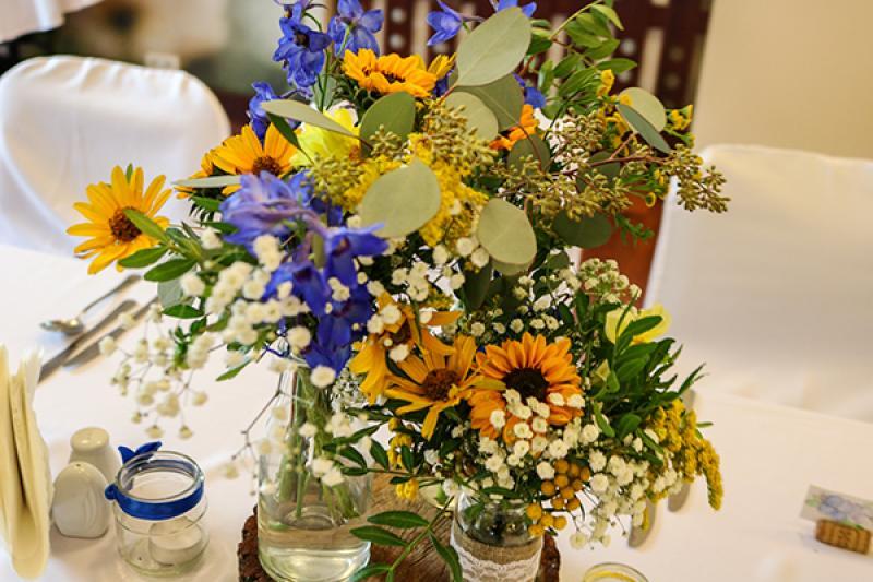 kwiaty na wesele warszawa słonecznik gipsówka