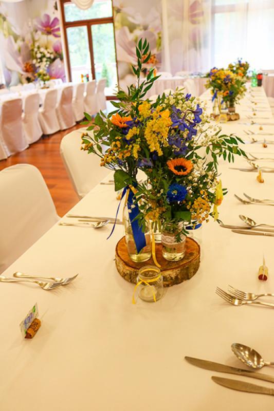 wesele dekoracje rustykalne słonecznik