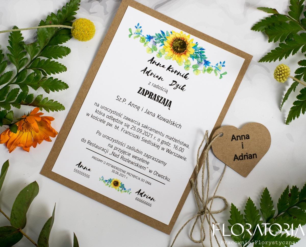 Zaproszenie ślubne Słoneczniki Floratoria Dekoracje ślubne