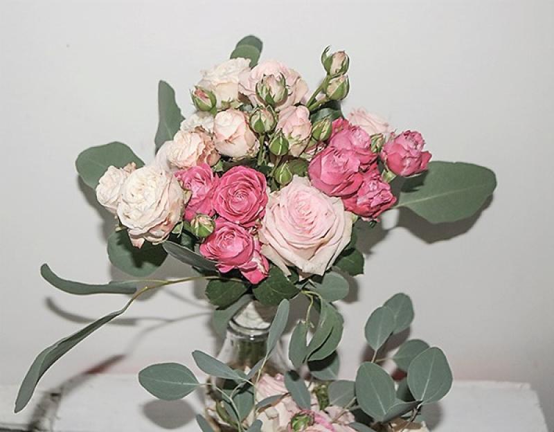 bukiet ślubny warszawa  eukaliptus róża