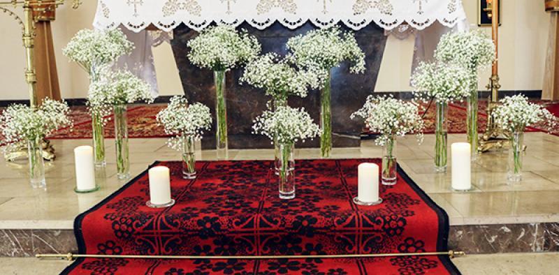 ołtarz gipsówka dekoracje ślubne warszawa