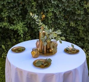 dekoracja stołu złoto zieleń