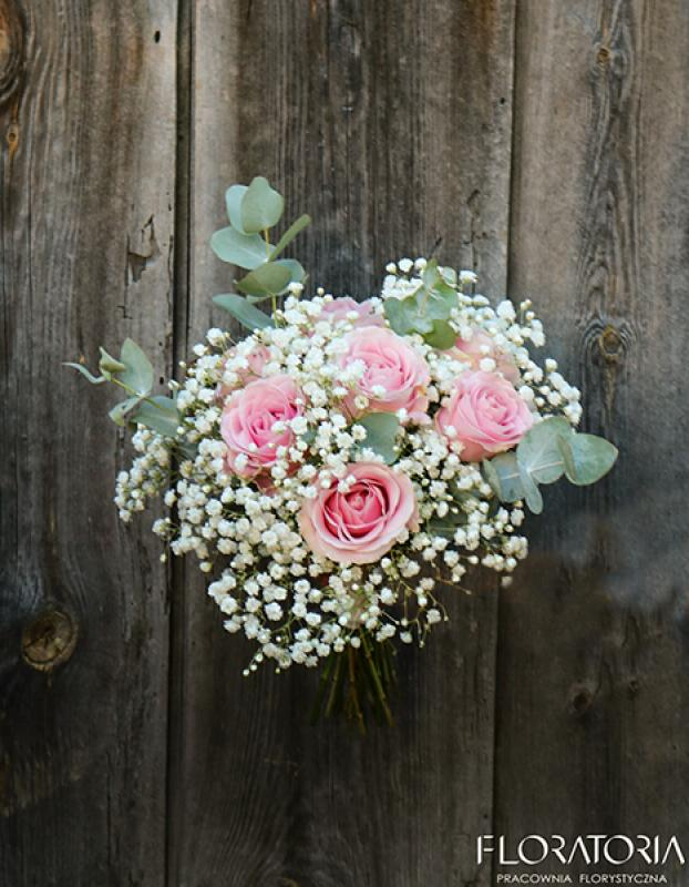 bukiet ślubny warszawa róża gipsówka