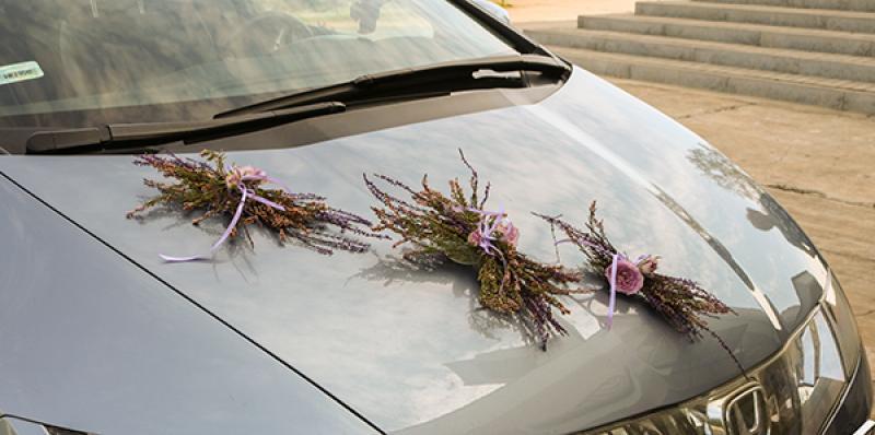 dekoracja samochodu wrzos