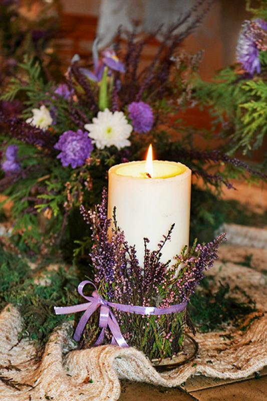 wrzosy świeca dekoracje ślubne warszawa