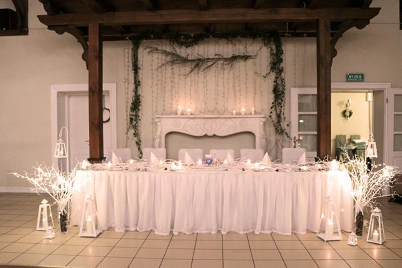 zimowa dekoracja sali weselnej