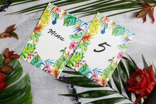 menu-numer-stolu-tropikalne-liscie