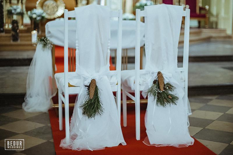 dekoracja krzeseł zimowa warszawa