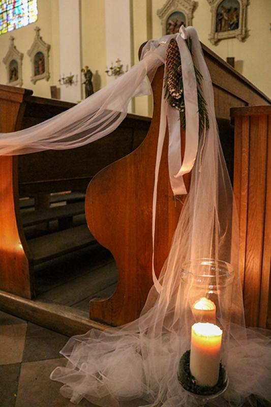 dekoracja ławki zimowy ślub warszawa