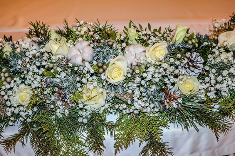 zimowa dekoracja stół wesele warszawa