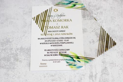 geometryczne złoto transparentne zaproszenie ślubne