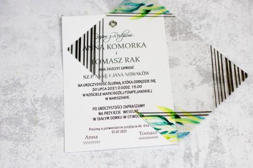 srebro zieleń geometryczne zaproszenie