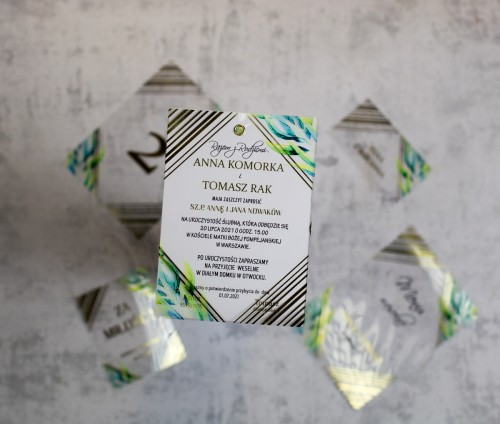 zaproszenie na ślub złoto geometryczne transparentne