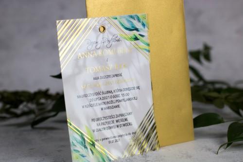 zaproszenie ślubne transparentne geometryczne
