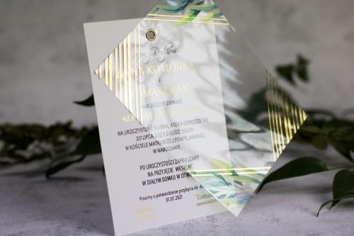 zaproszenie transparentne złoto