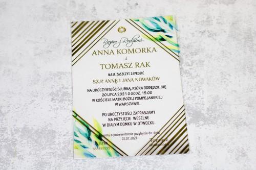 złote geometryczne zaproszenie ślubne