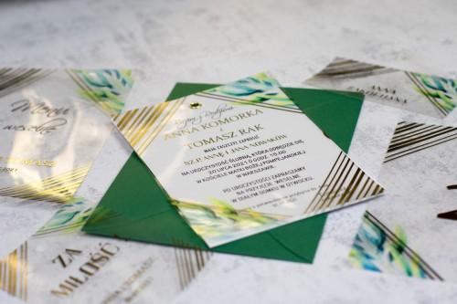 złote paski transparentne zaproszenie ślubne