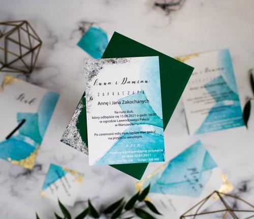 zaproszenie-srebrno-zielone