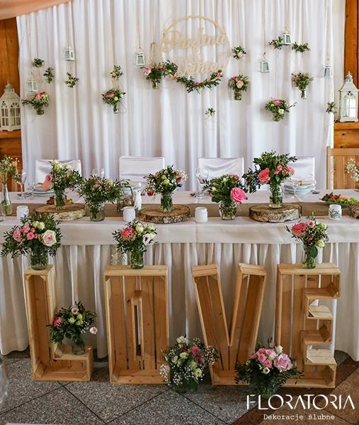 Rustykalne Love Floratoria Dekoracje ślubne